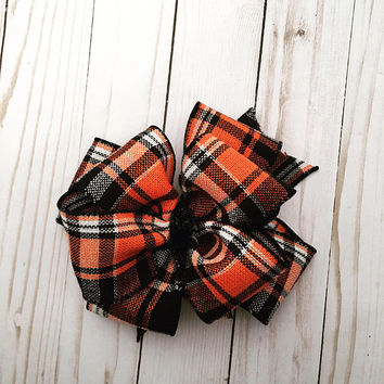 Orange/Black/White Plaid Bow, Fall Hairbow, Double Stacked Hairbow, 4inch Bow, Bows fir Girls, Boutique Hairbow, Infant Bow, Large Hairbow