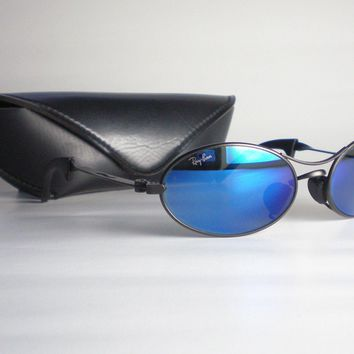 Vintage Ray Ban B&L USA ORBS BLUE MIRRORED Sunglasses oval metal aviator black