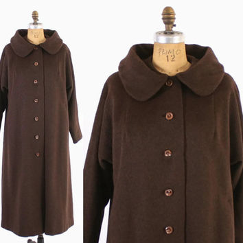 Vintage 60s Swing COAT / 1960s 100% Alpaca Warm Soft Dark Brown Winter Coat M - L