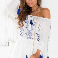Fireflies Playsuit in White Embroidery