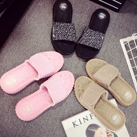 Love-Q168 ADIDAS Coconut lazy men and women slippers soft bottom massage beach shoes