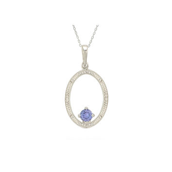 Sterling Silver Tanzanite and Diamond Necklace - Oval (.01 cttw, I-J, I2)