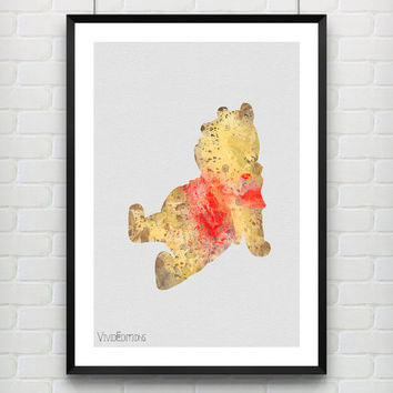 Winnie the Pooh Poster, Disney Watercolor Art Print, Baby Nursery Bedroom Wall Art, Kids Decor, Not Framed, Gift, Buy 2 Get 1 Free! [No. 56]