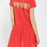 Sparkle & Fade Lattice-Back Babydoll Dress