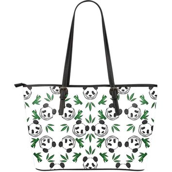 Panda Large Leather Tote Bag - Panda Pattern With Bamboo Leaves