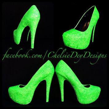 Glow in the Dark Neon Green Rave EDM EDC Festival Glitter High Heels
