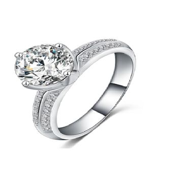 Platinum Plated Inlay Cubic Zirconia Promise Rings For Lovers (7)