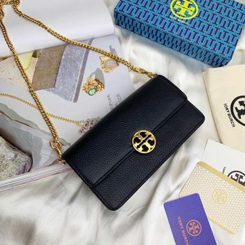 Kuyou Gb99822 Tory Burch Chain Flap Wallet In Black Grained Leather 19x10.5x5cm