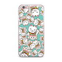 "Juan Paolo ""Ramen Cats"" Teal White iPhone Case"