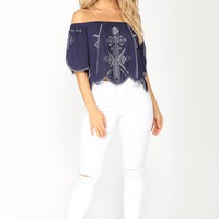 Adrianna Off Shoulder Top - Navy