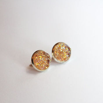 NEW - Peach Rainbow Chunky Faux Druzy Glitter Earrings - Posts/Studs 12mm LARGE