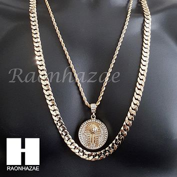 "MEN KING TUT ROPE CHAIN DIAMOND CUT 30"" CUBAN LINK CHAIN NECKLACE S067"