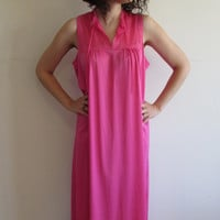 Simple Vintage Bright Pink Long Nightgown with Lace Detailing