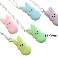 """Easter Marshmallow Bunny Necklace - Cute Miniature Food Jewelry - Rabbit Charm Pendant with 17"""" silver-tone chain"""