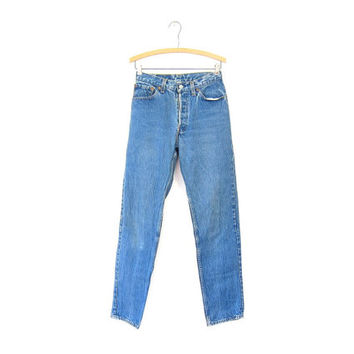 LEVIS 501 80s High Waist Blue Jeans BUTTON FLY Worn In Denim Straight Leg Boyfriend Mom Jeans Vintage Farmers Mechanics 1980s Hipster Grunge