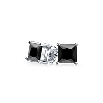 .50 CT Black Square Princess Cut CZ Stud Earrings Men Sterling Silver