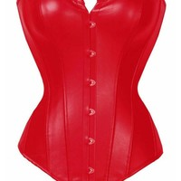 Sexy Women Slim Overbust Corset Boned Bustiers Gothic Red Shaper Top