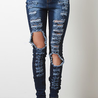 Distress High Waisted Skinny Jeans
