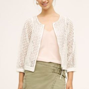 Elevenses Eyelet Bomber in White Size: