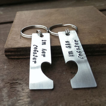 Boyfriend Girlfriend Keyrings, Hand stamped Keyrings/Keychains, Lobster Quote, Friends Quote, Valentines Gift
