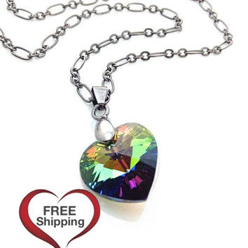 Multicolor Necklace, Black Metal, Colorful Heart, Rainbow Necklace, Swarovski Heart, Neon Green, Gift For Teenager