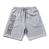 Supreme 18ss Leg Embroidery Sweat Short Grey Short Pants - Best Online Sale