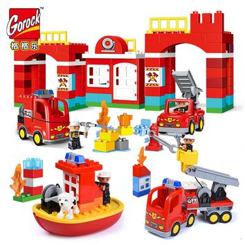 GOROCK Diy Big Size City Fire Department Firemen Building Blocks Compatible With Legoings  Duplo Bricks Hobbies Toys Baby Gifts