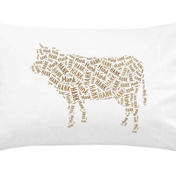 Personalized Pillowcase Cow Pillow Cover Room Decor Christmas Gift Name