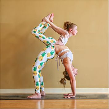 Yoga Pants, women's wear pants, printed pineapple