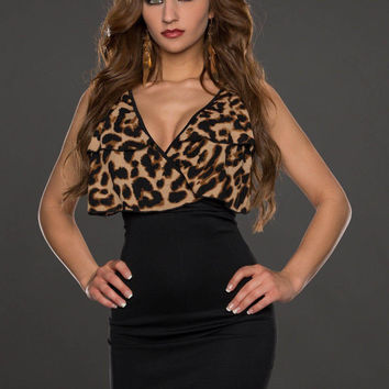 Black Leopard Print Sleeveless Bodycon Mini Dress