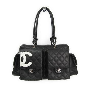 Chanel Cambon Line A25173 Women's Cambon Ligne Shoulder Bag Black,White BF312533