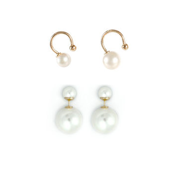 Double Pearl Earring and Ear Cuff Set