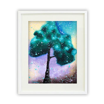 Tree Giclee Print, Tree Art Rustic Decor, Tree of Life Abstract Landscape, Archival Art Print, Teal Purple 11x14 Signed
