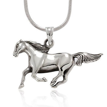 925 Sterling Silver Polished Solid Running Horse Pony Charm Pendant Necklace, 18 inches