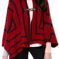 The Geo Print Poncho in Red