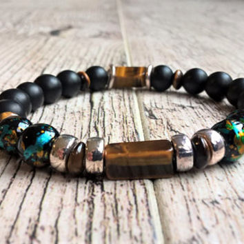 Men's Beaded Bracelet, Men's Nautical Bracelet Cuff Matte Black Onyx Tiger's Eye Bracelet, Mala Beads Bracelet Yoga Bracelet Energy Bracelet