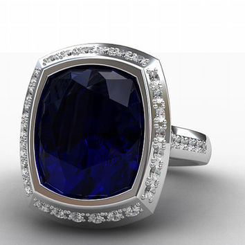 Over 5.00ct GIA Certificated Ceylon blue sapphire ring, Diamond ring, halo engagement sapphire engagement, blue, unqiue