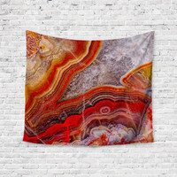 Red Geode Agate Geode Trendy Boho Wall Art Home Decor Unique Dorm Room Wall Tapestry Artwork