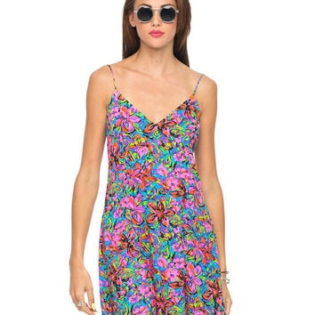 V-neck Floral Print Spaghetti Strap A-line Mini Pleated Dress