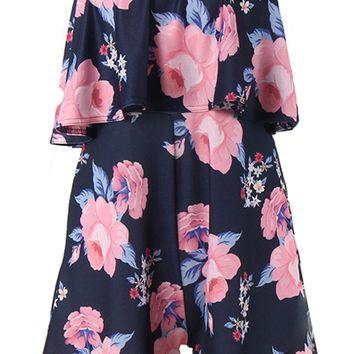 Streetstyle  Casual Strapless Flounce Floral Printed Romper