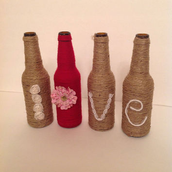 Wrapped Bottles, Twine Wrapped Love Bottles, Rustic Wedding, Wedding Gift, Home Decor, Anniversary Gift