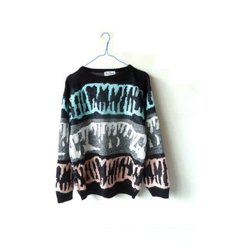 80s vintage abstract art jumper . small fit . hipster. festival . nan dorsey  sweater