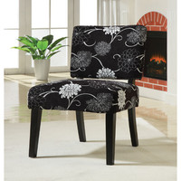 Coaster Black And White Floral Accent Chair