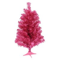 2' Unlit Tinsel Tree - Pink