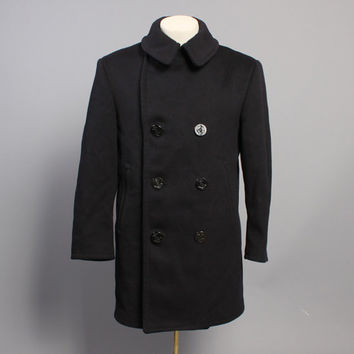 60s USN Wool PEA COAT / 8 Button Corduroy Pockets Kersey Wool, 38