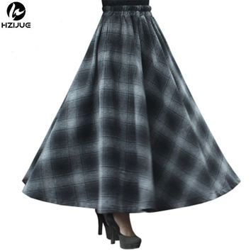 HZIJUE Winter skirt women party casual long maxi skirt vintage autumn high waist big sing around plaid falda lady rok