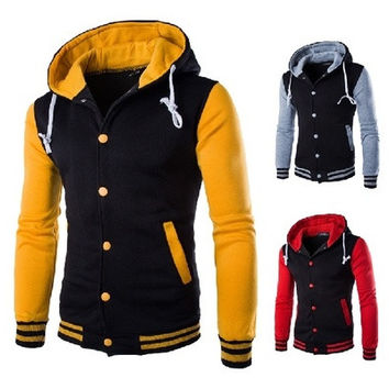 Hooded Varsity Jacket Men Slim Fit Mens College Baseball Jackets White Gray Wine Red Purple Yellow Blue Red Navy Blue [9324254468]