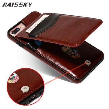 HAISSKY 5 5s SE Leather Case For iPhone 7 Plus 7 Case 6 6s Plus Case Wallet Card Flip Cover Magnetic Fundas Phone Accessories