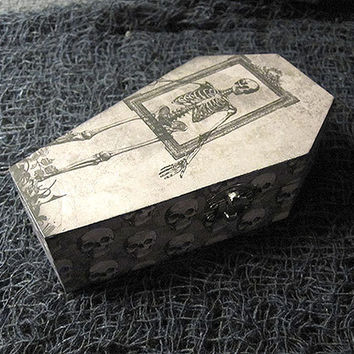Skeleton Coffin Wood Coffin Box - Gothic Horror Wedding Wood Trinket Keepsake Box