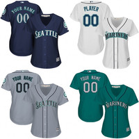 WOMEN Seattle Mariners Custom baseball Jersey Personalized any name and number stitched Embroidery logos size S-XL